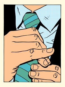 gentleman straightens tieの写真素材 [FYI00789162]