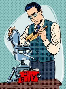 Education scientist teacher robot studentの写真素材 [FYI00789203]