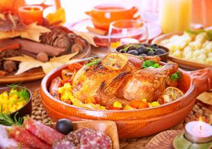Thanksgiving day family dinnerの写真素材 [FYI00789305]