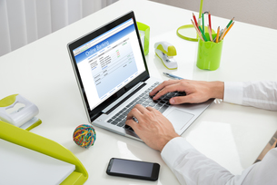 Businessperson Online Banking With Laptopの写真素材 [FYI00789611]