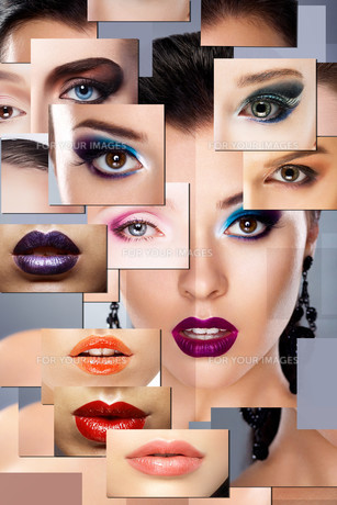 Digital Art. Set of Women's Faces with Colorful Makeupの写真素材 [FYI00789867]