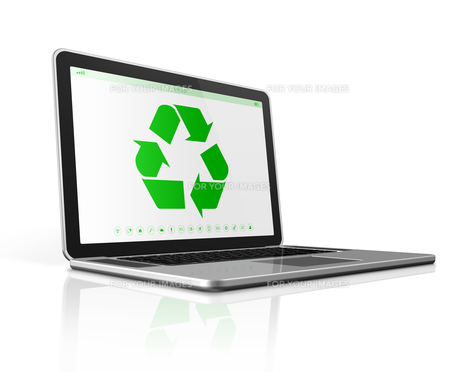 Laptop computer with a recycling symbol on screen. environmental conservation conceptの写真素材 [FYI00790186]