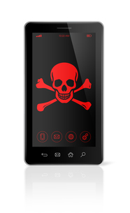 smart phone with a pirate symbol on screen. Hacking conceptの写真素材 [FYI00790207]