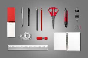 Stationery, office supplies mockup template, anthracite backgroundの写真素材 [FYI00790248]