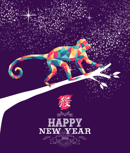 Happy chinese new year monkey 2016 triangle colorの素材 [FYI00790997]