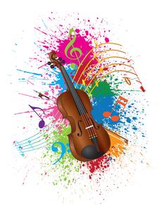 Violin with Bow Paint Splatter Illustrationの素材 [FYI00791074]