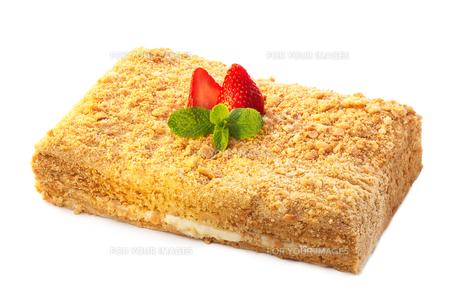 Strawberry dessert isolated on whiteの写真素材 [FYI00791189]