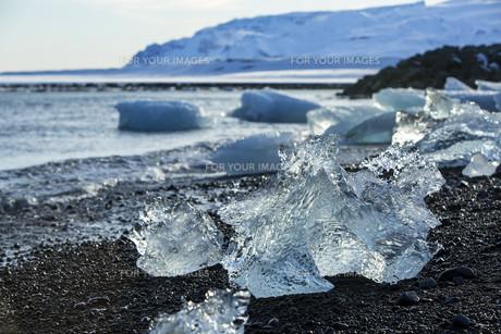 Ice blocks at glacier lagoon Jokulsarlon, Icelandの写真素材 [FYI00791634]