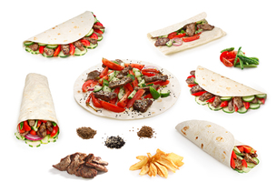 Beef Shawarma set isolatedの写真素材 [FYI00791860]