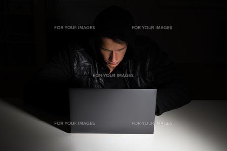 Hacker Stealing Data From Laptopの写真素材 [FYI00791971]