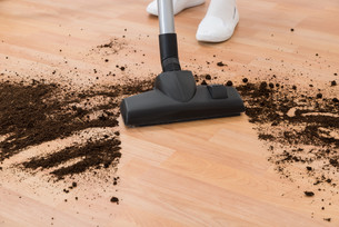 Person With Vacuum Cleaner Cleaning Floorの写真素材 [FYI00791982]