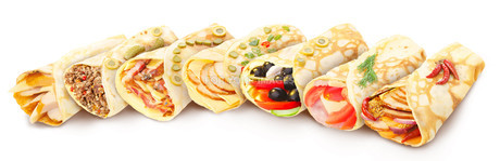 Collection of stuffed crepesの写真素材 [FYI00792050]