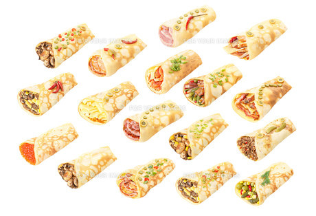 Collection of stuffed crepesの写真素材 [FYI00792068]