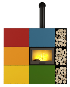 Colorful Fireplace on whiteの写真素材 [FYI00792293]