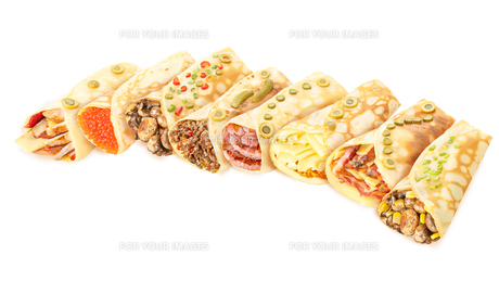 Collection of stuffed crepesの写真素材 [FYI00792368]