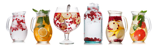 Collection of different drinks in batch glassesの写真素材 [FYI00792405]