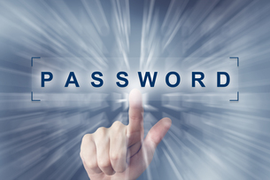 hand clicking on password buttonの写真素材 [FYI00792733]