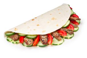 Beef shawarma isolatedの写真素材 [FYI00792809]