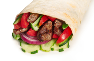 Beef shawarma isolatedの写真素材 [FYI00792823]