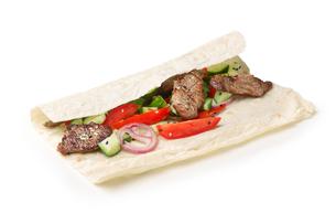 Beef shawarma isolatedの写真素材 [FYI00792825]