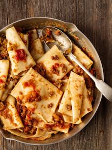 rustic italian pasta in ragu sauceの写真素材 [FYI00792959]
