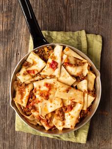 rustic italian pasta in ragu sauceの写真素材 [FYI00792968]