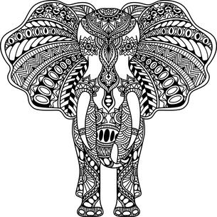 vector Henna mehndi decorated Indian Elephantの写真素材 [FYI00793067]