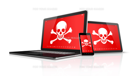 Laptop tablet pc and smartphone with pirate symbols on screen. Hacking conceptの写真素材 [FYI00793405]
