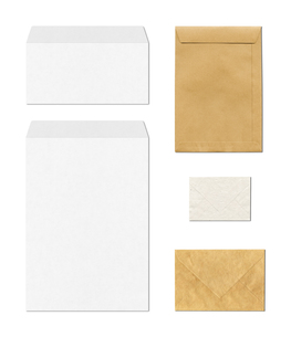 envelopes mockup template, white backgroundの写真素材 [FYI00793426]