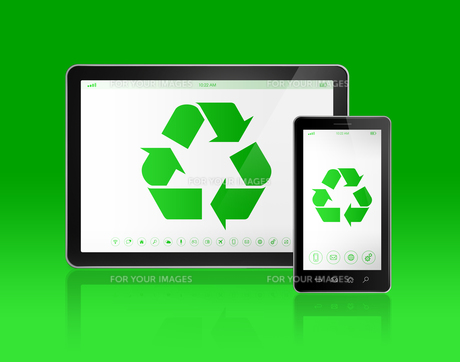 Digital tablet PC with a recycling symbol on screen. ecological conceptの写真素材 [FYI00793431]
