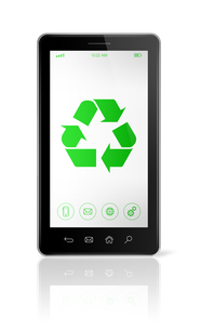 Smartphone with a recycle symbol on screen. ecological conceptの写真素材 [FYI00793442]