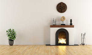 Empty room with minimalist fireplaceの写真素材 [FYI00793485]