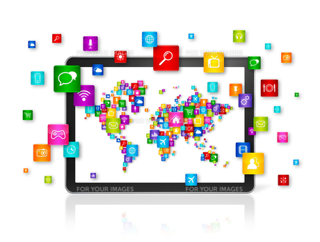 World map made of icons on Tablet PC. Cloud computing conceptの写真素材 [FYI00793492]