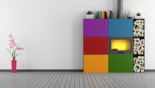 Empty room with fireplaceの写真素材 [FYI00793524]