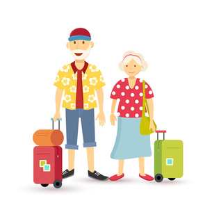 Old couple summer holiday grandparent travel flatの写真素材 [FYI00794180]
