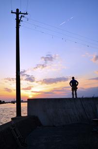 大阪高石市石津漁港の夕日の写真素材 [FYI00794992]