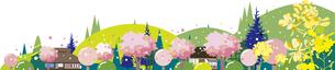 日本の春の田舎の風景のイラスト素材 [FYI00795070]