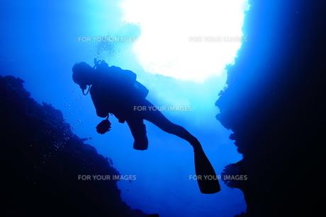 洞窟内で泳ぐダイバーの写真素材 [FYI00795298]