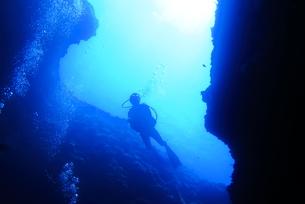 洞窟内で泳ぐダイバーの写真素材 [FYI00795301]