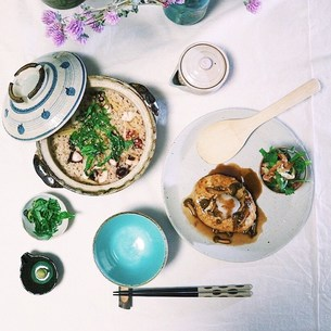 蛸と生姜の土鍋炊き込みご飯の写真素材 [FYI00795777]