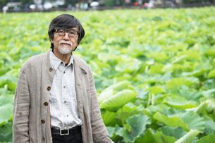 カメラ目線のおじいちゃんと蓮の写真素材 [FYI00795981]