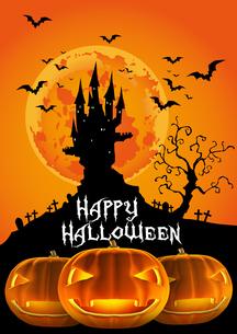 ハロウィン 夕暮れのお城とお化けカボチャ ジャックオーランタンのイラスト素材 [FYI00796000]