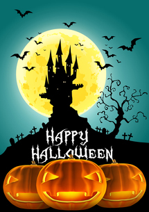 ハロウィン 満月とお城とオバケかぼちゃ ジャックオーランタンのイラスト素材 [FYI00796003]