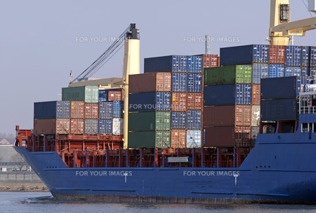 container ship in the port of hamburgの写真素材 [FYI00798491]
