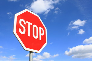 stop sign in germanyの写真素材 [FYI00799544]
