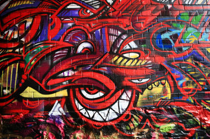 grafitti in werregaaren straatの写真素材 [FYI00800027]