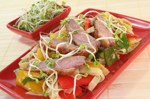 duck breast with fried noodlesの写真素材 [FYI00800422]