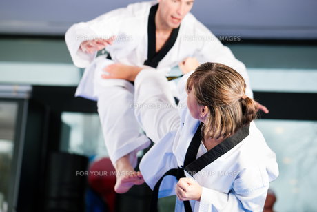 martial arts training in the gymの写真素材 [FYI00800548]