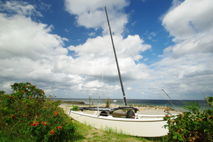 catamaran on the beach of sch?nhagenの素材 [FYI00801033]