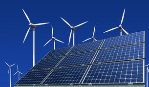 monocrystalline solar panels and wind turbinesの写真素材 [FYI00802006]